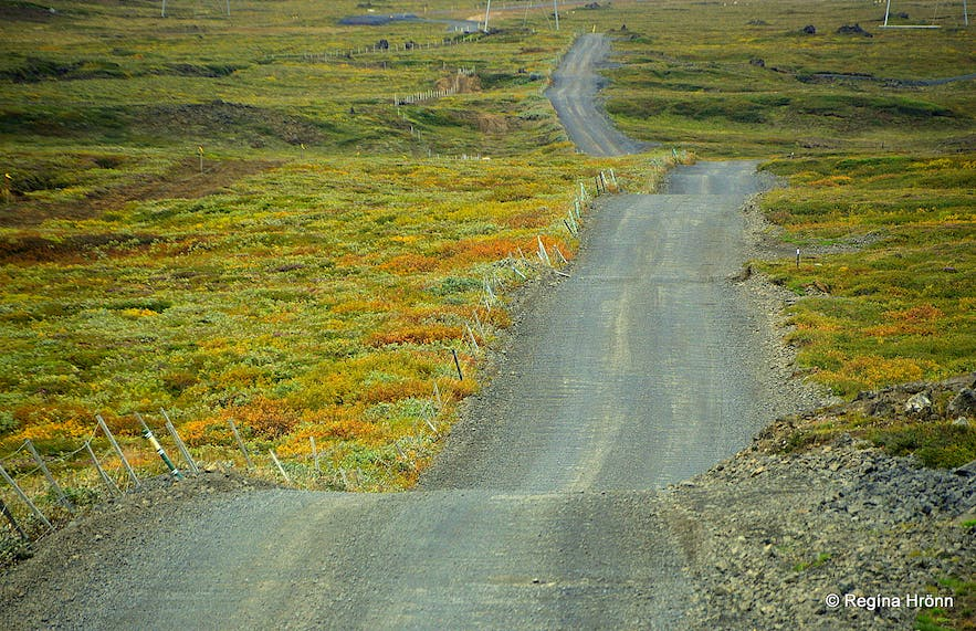 The gravel road leading from Hólasandur to Þeistareykir - a new paved road is being made now (2020)