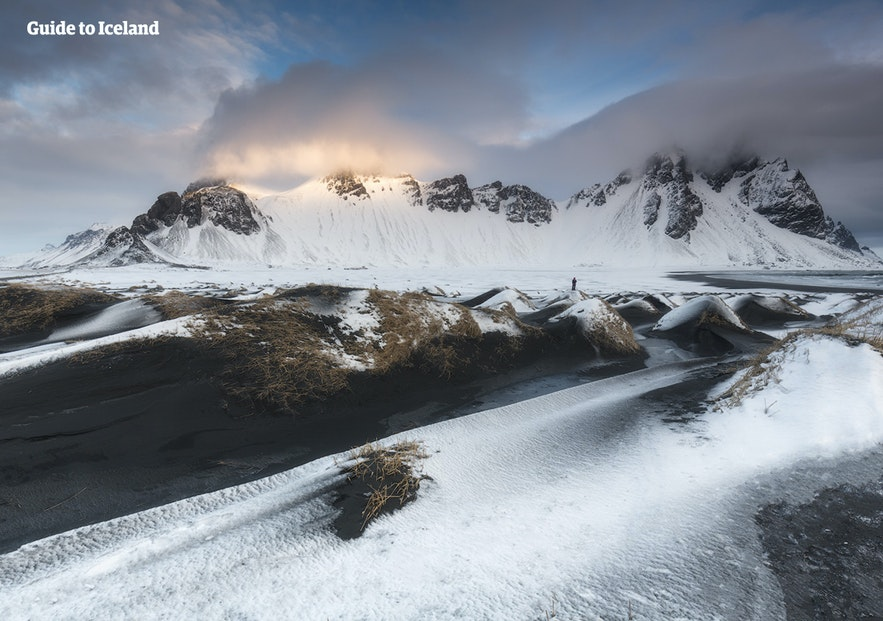 The mighty Vestrahorn mountain in its winter coat.