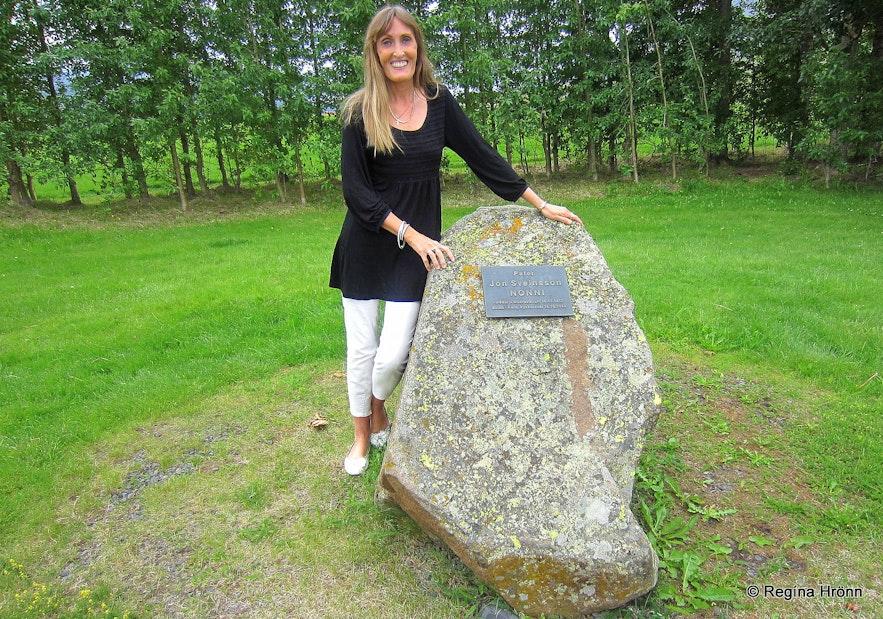 Regína By the Nonni memorial grove at Möðruvellir