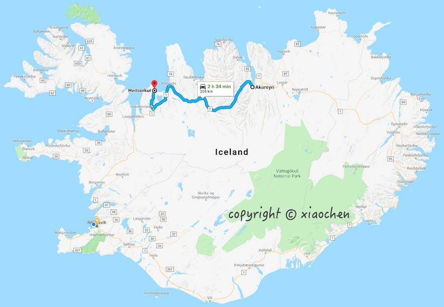 犀牛石Hvítsekur距离阿克雷里204公里