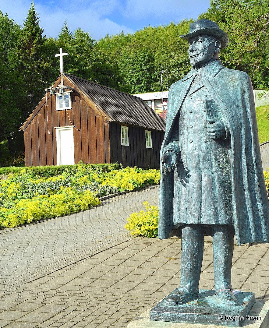 The Nonni statue by Nonnahús in Akureyri North-Iceland