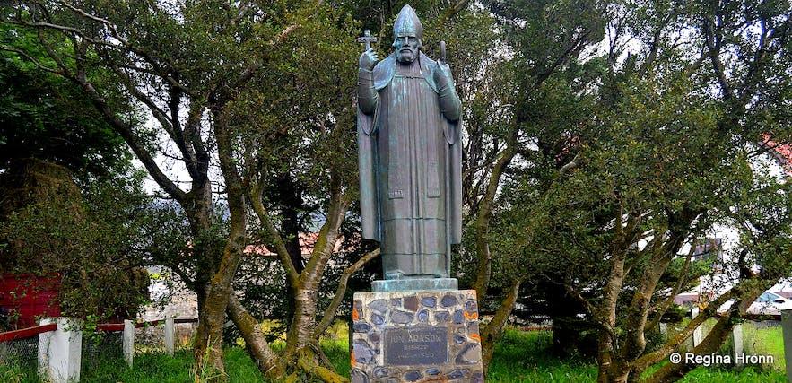 The statue of Jón Arason at Munkaþverá