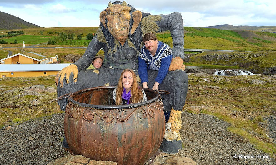 Sitting in the cauldron of Grýla at Fossatún in West-Iceland
