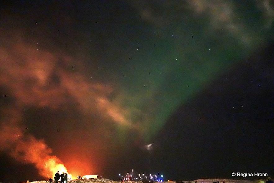 The bonfire and Northern Lights in Seltjarnarnes