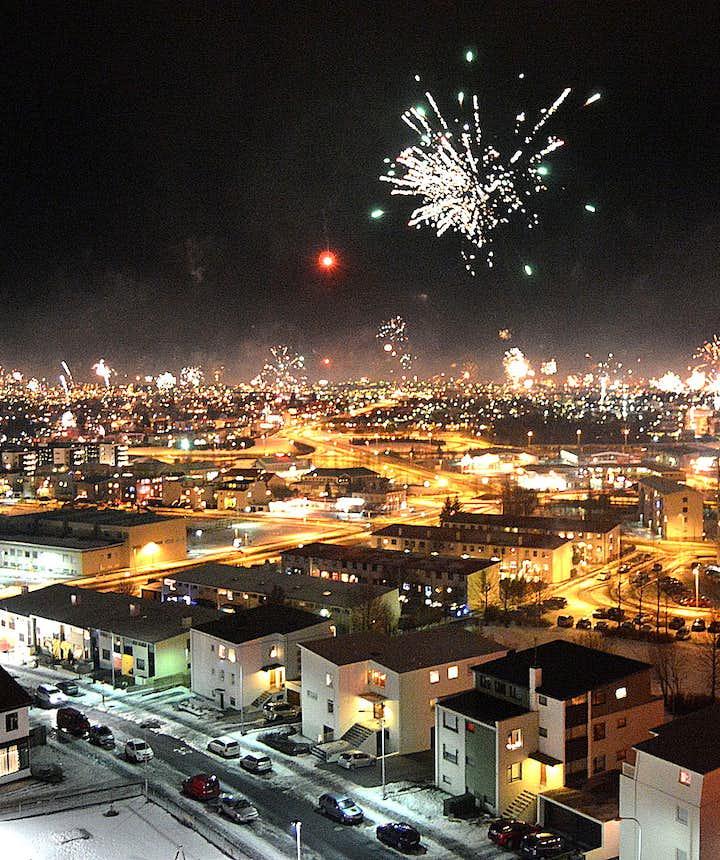 New Year's Eve fireworks in Reykjavík, Iceland