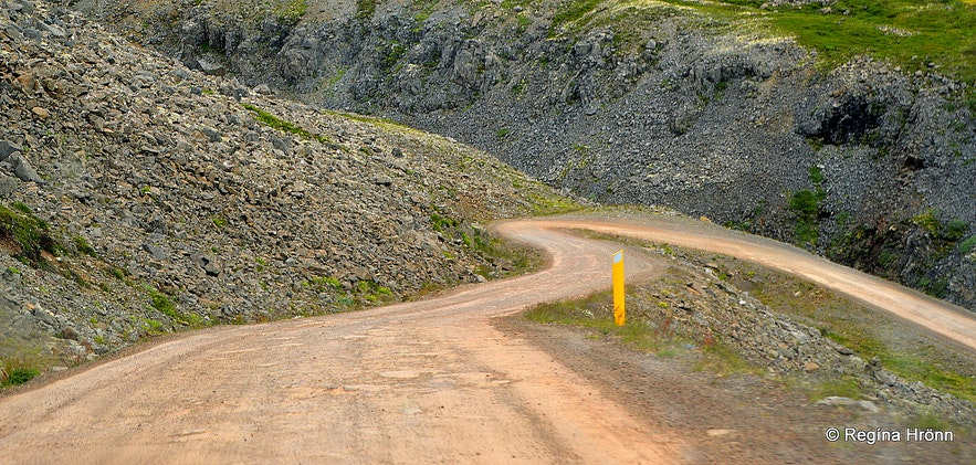 The winding gravel road leading to Rauðasandur in the Westfjords