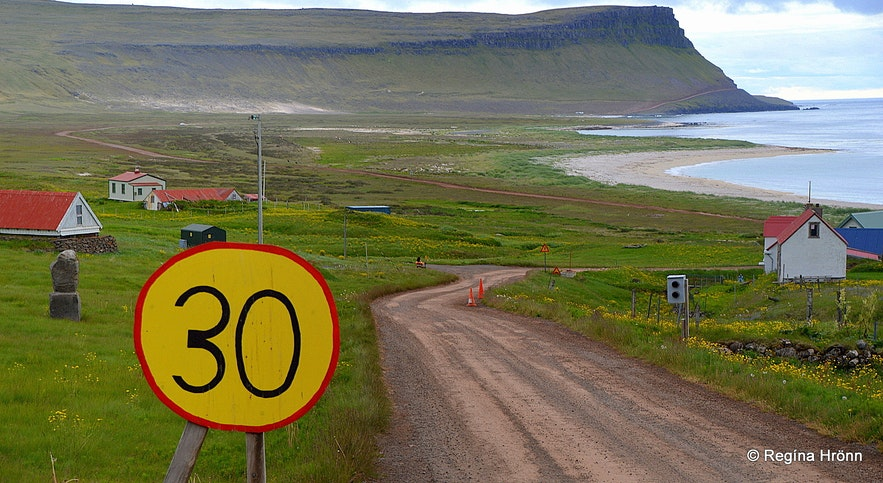 A home-made traffic-sign on the way to Látrabjarg