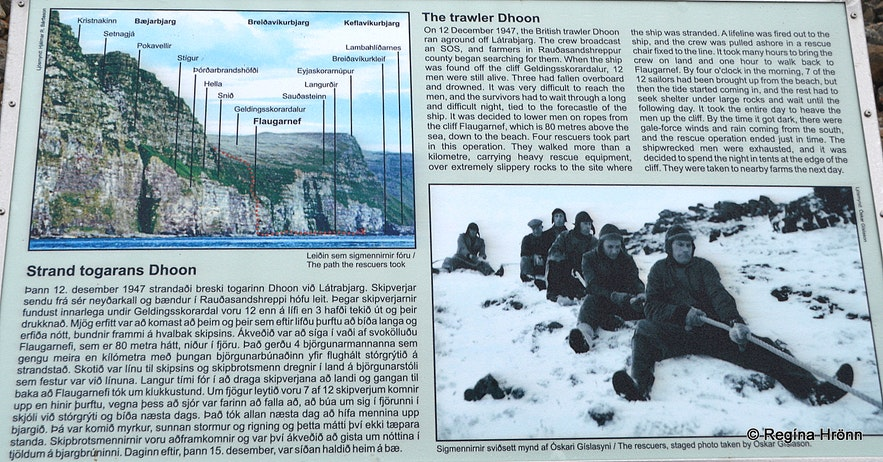 The information sign on the heroic rescue of the British trawler Dhoon