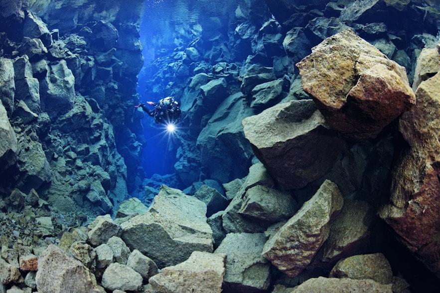 在冰岛的丝浮拉大裂缝中体验潜水,体验在两板板块间潜水的畅快