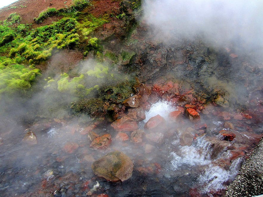 Steam coming from Deildartunguhver hot spring in West Iceland.