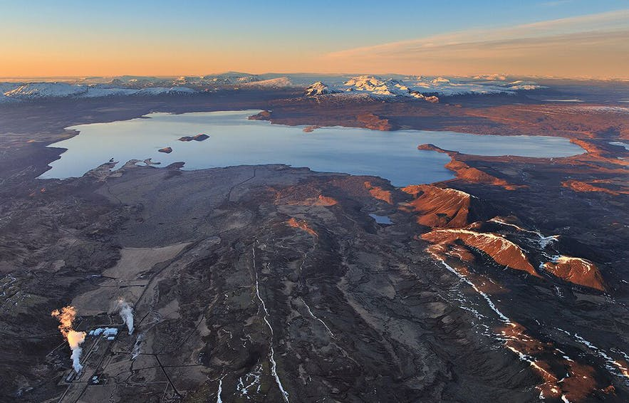 아이슬란드 본토 유일의 세계문화유산 지정 지역, 씽베들리르 국립 공원의 항공 사진