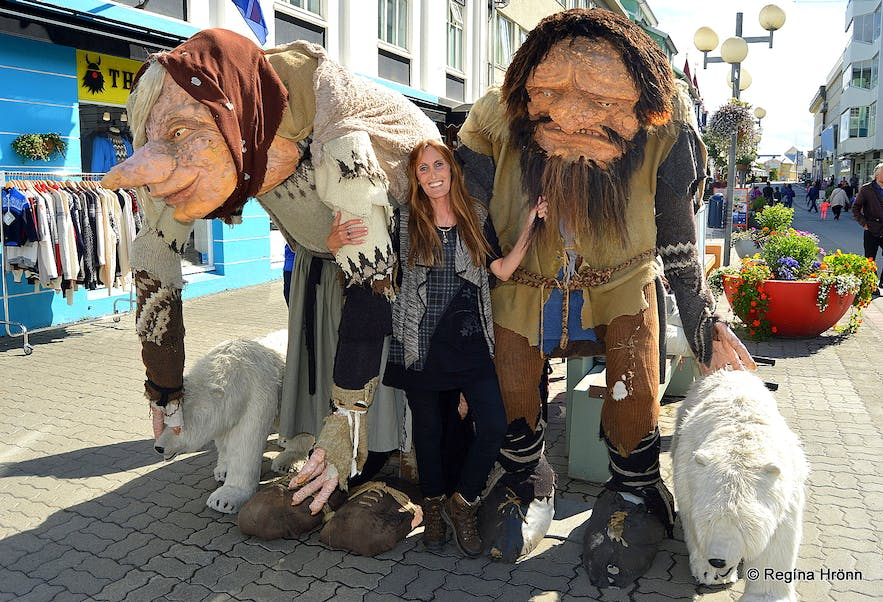 Regína with Grýla and Leppalúði in Akureyri, the capital of the North