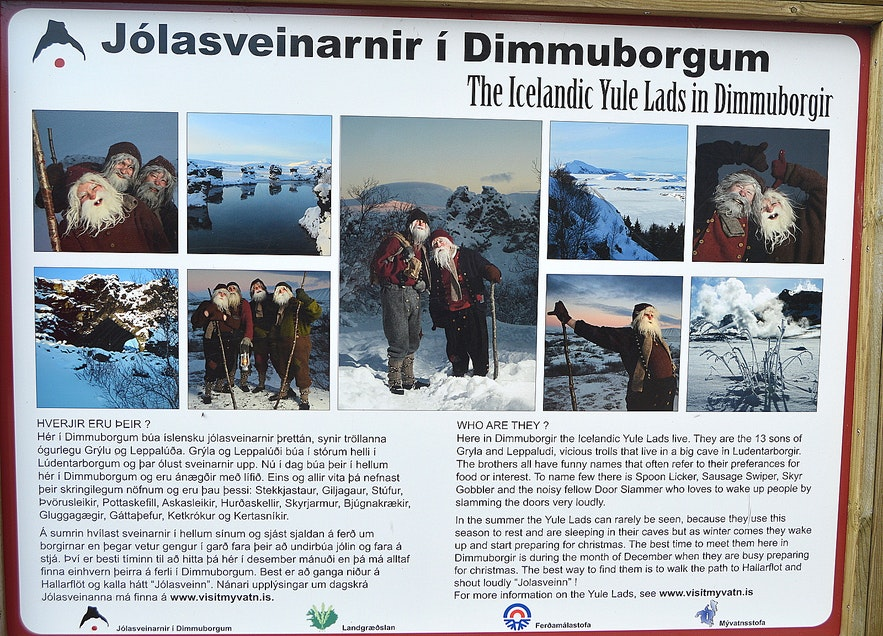 The information sign at Dimmuborgir tells us aboutthe Icelandic Yule Lads