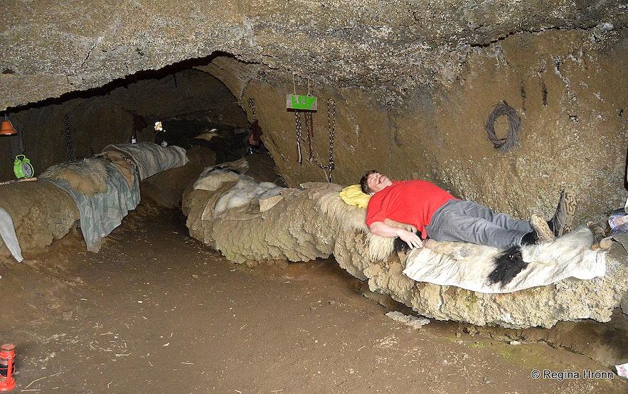 Inside Jólasveinahellirinn - the Cave of the Yule Lads in Dimmuborgir North-Iceland