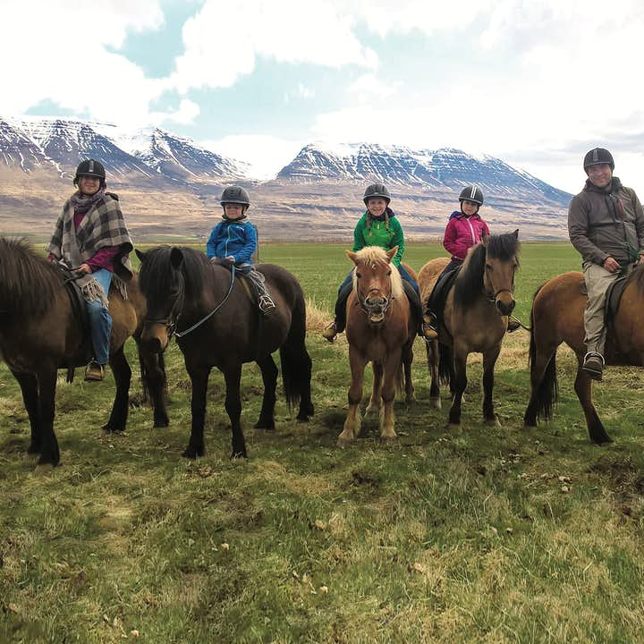 A group of riders planning to head out for a ride in Skagafjörður valley, North Iceland.