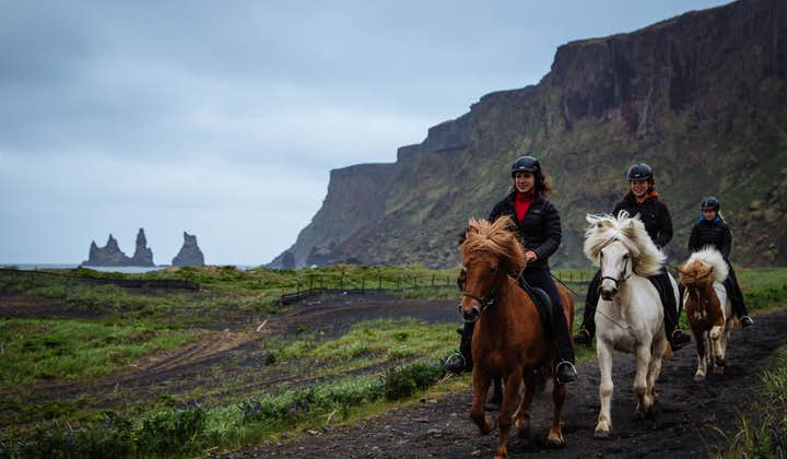 Riding on a path under the high cliffs leading down to the black beach, near Vík, South Iceland.