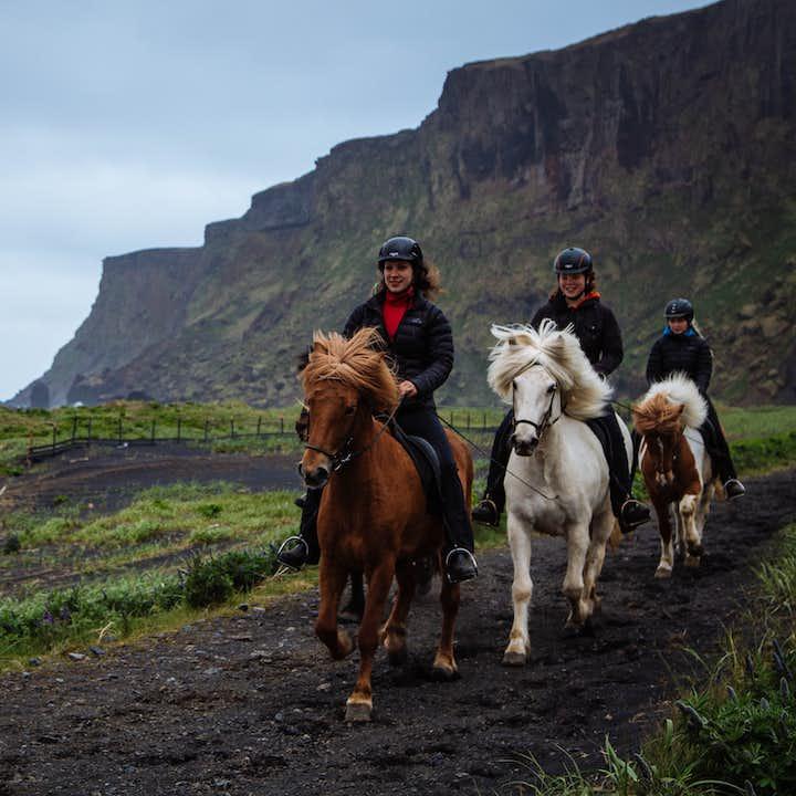 在冰岛马背上,领略冰岛南岸维克镇旁的黑沙滩上的壮观地址风光。