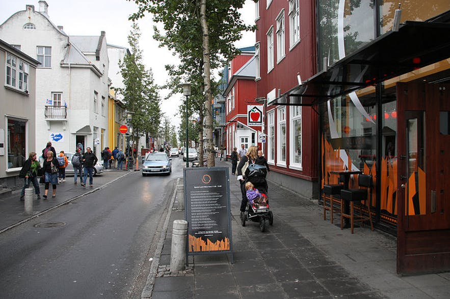Laugavegur is the main shopping street in Reykjavik.