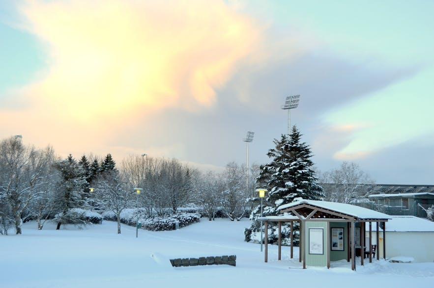 雷克雅未克的Laugardalur在平静的冰岛冬日里格外美丽