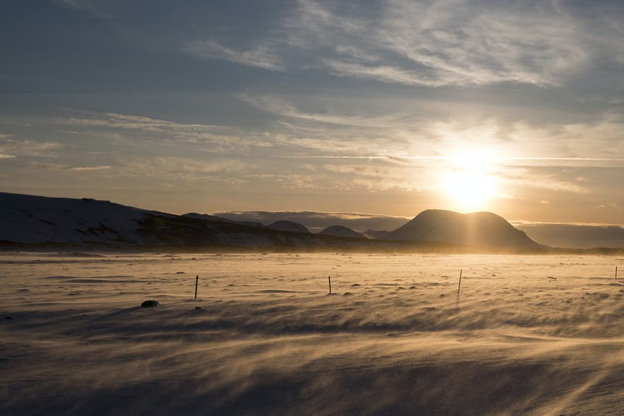 Winterlandschaft nahe dem Vulkan Hekla