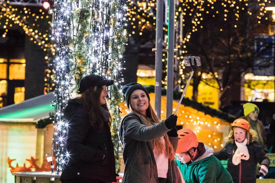 People celebrating the holidays in Reykjavík