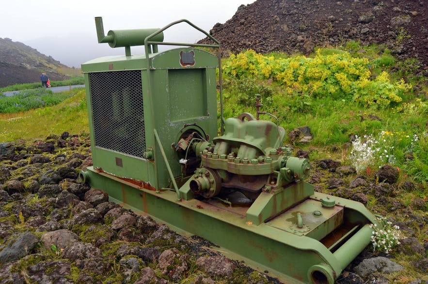 To save the harbour of Heimaey, seawater was pumped with one of these machines onto the lava from Eldfell.
