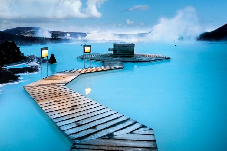 The azure waters of the Blue Lagoon, situated in the Reykjanes Peninsula, in southern Iceland.