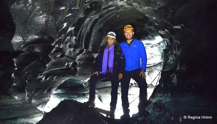 Regína at the Katla ice cave in South-Iceland