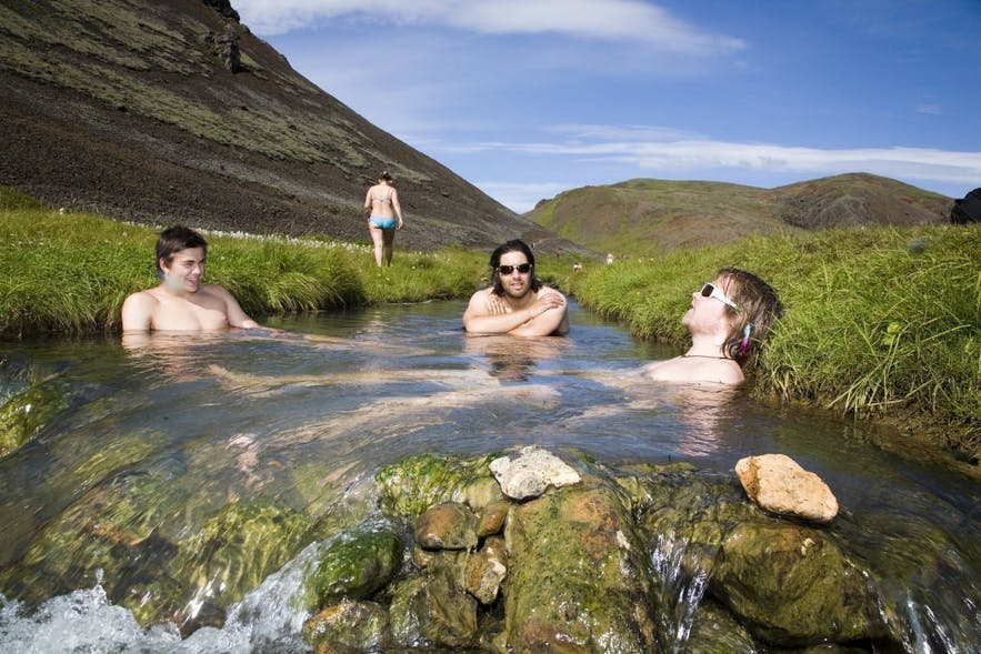 Relaxing in a hot spring is just one of the many authentic Icelandic experiences open to travellers here.