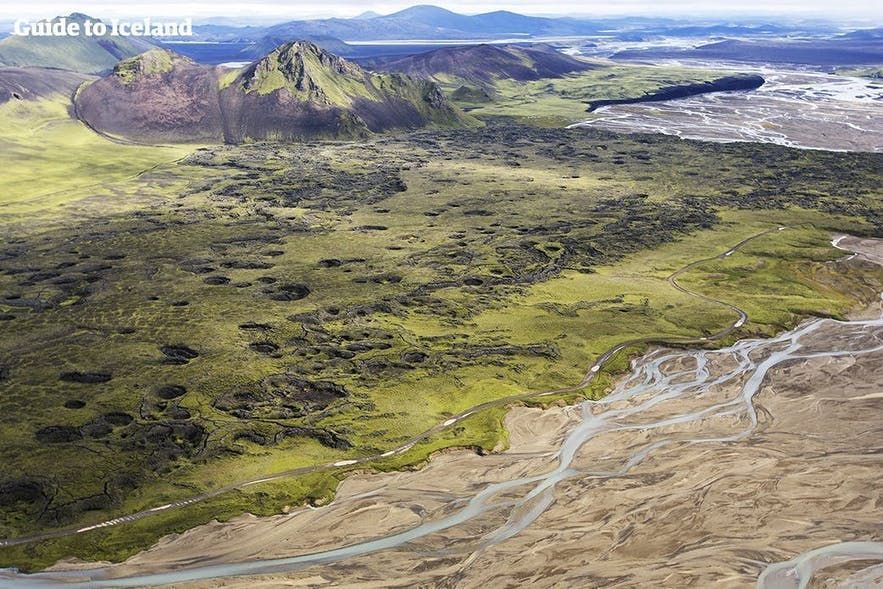 An aerial view over the Central Highlands of Iceland.
