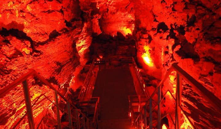 A walkway built inside the dramatic Raufarholsvellir lava cave