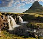 Mt Kirkjufell and Kirkjufellsfoss waterfall near Grundarfjörður village, north Snæfellsnes.