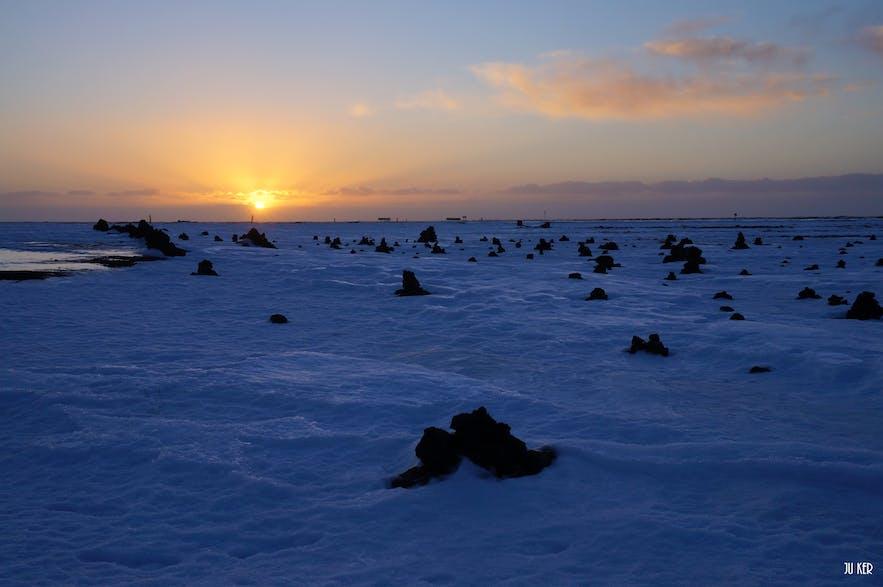 Lever de soleil en hiver en Islande