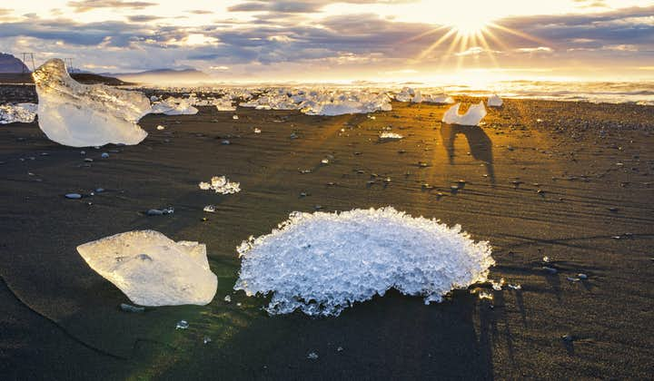 Ice on the black sands of the diamond beach.