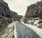 Almannagjá Gorge at Þingvellir national park in wintertime, leading between the two continental plates.