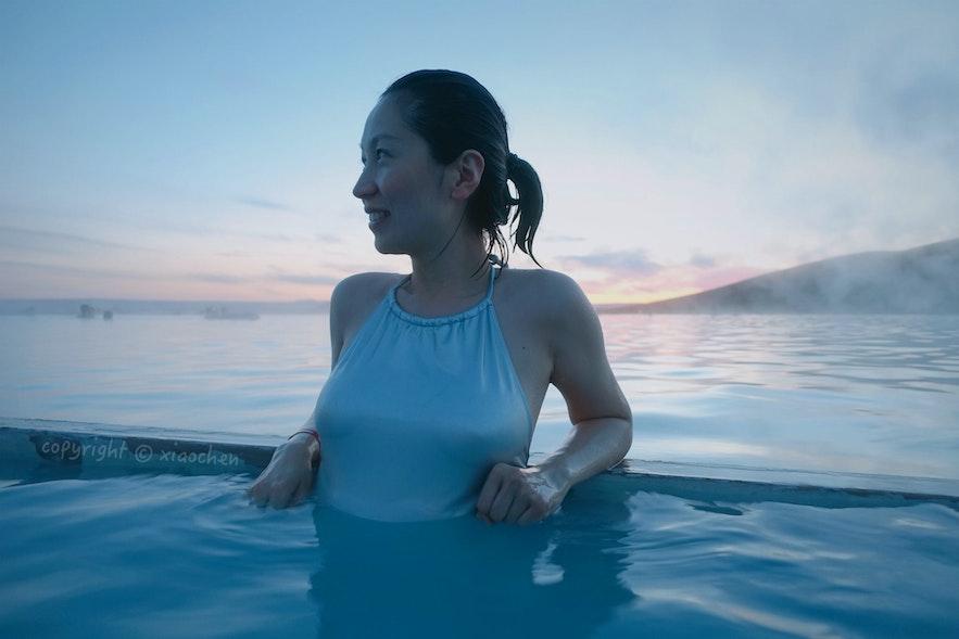 米湖温泉的游客要比蓝湖少许多