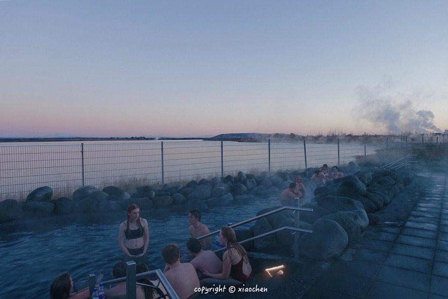 冰岛的丰塔纳温泉景色