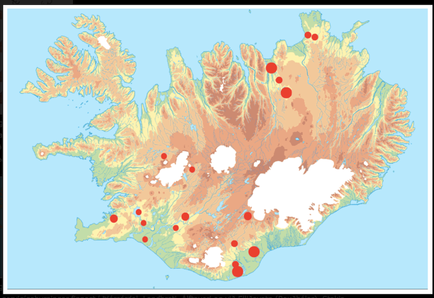 A map of pseudocraters in Iceland