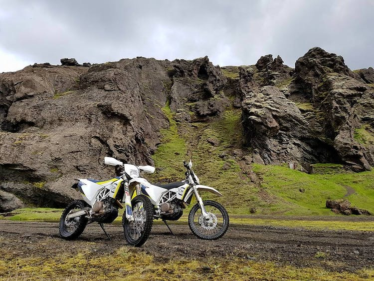 Bikes standing at ready in the lava torn highlands