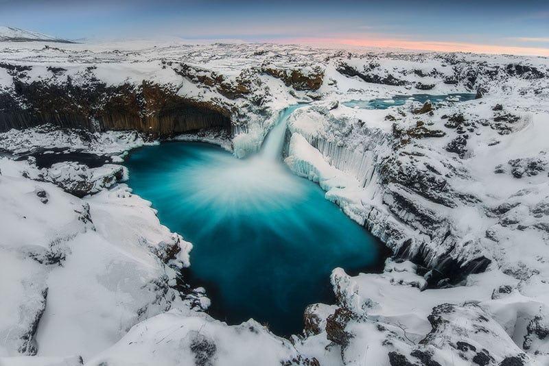 Aldreyjarfoss waterfall in south Iceland, in winter garb.