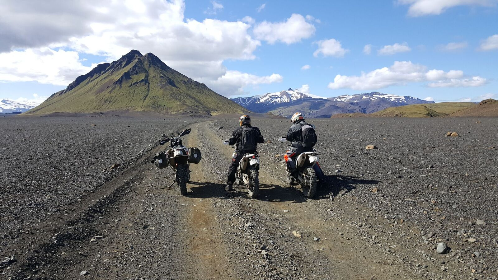 Open road, and a large mountain. No, you can't ride up the mountain, but you can ride the open road.