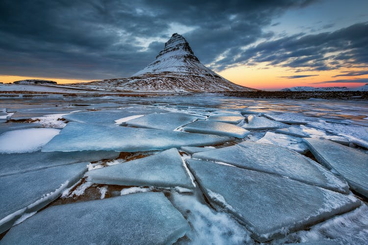 The pyramid-shaped mountain, Kirkjufell, on the Snæfellsnes Peninsula in winter.