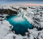 The waterfalls of north Iceland become frozen in winter.