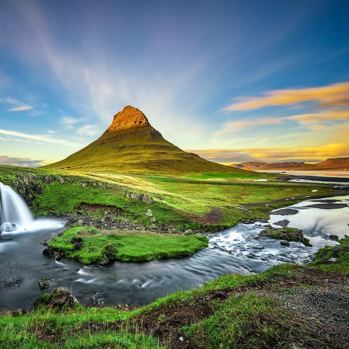 Stunning Kirkjufell mountain on a sunny day