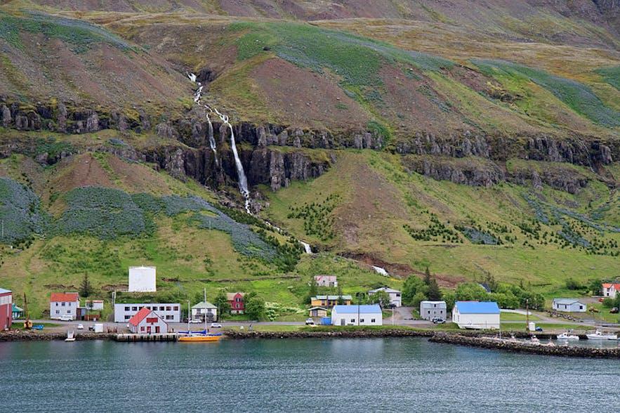 冰岛东部的塞济斯菲厄泽峡湾小镇上有众多木质色彩房子