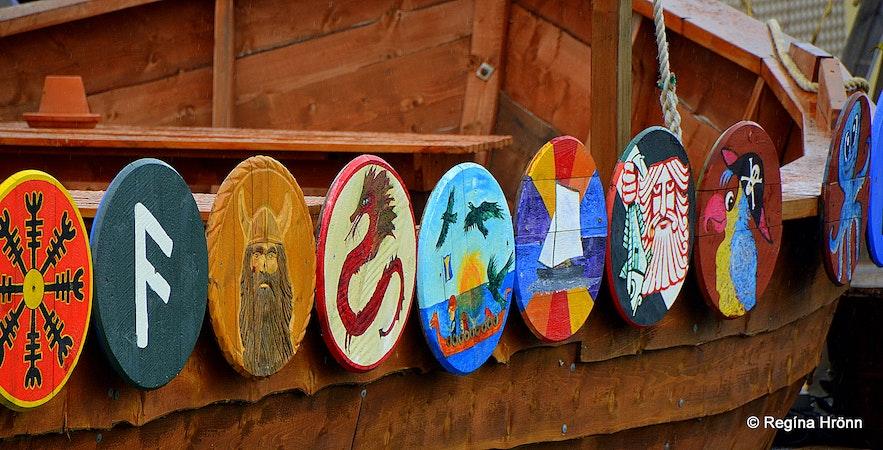 Viking ship with shields at Hauganes