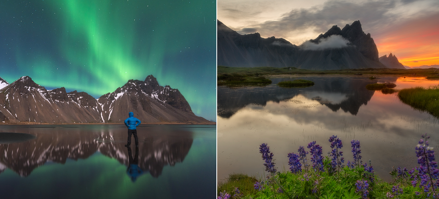 冰島Vestrahorn 極光午夜陽光