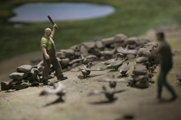 A display at the Wilderness museum, of a man who seemingly does not like ducks.