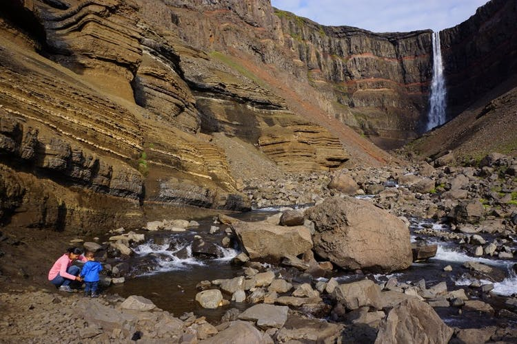 A deep canyon with the Háifoss waterfall, in the eastern highlands.