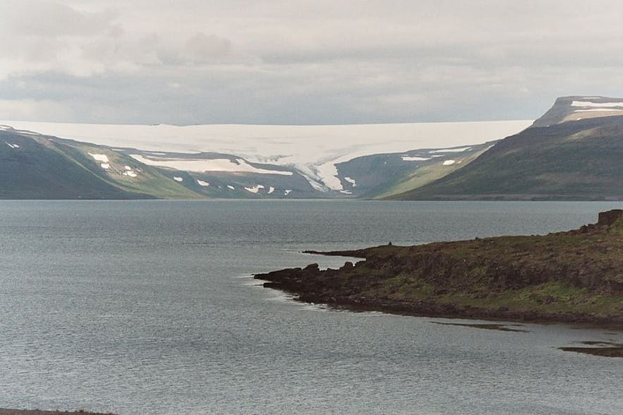 Drangajökull in the Westfjords, on a cloudy day.